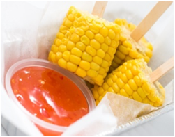 Corn cobs with dip