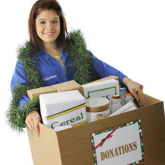 Woman holding donations box