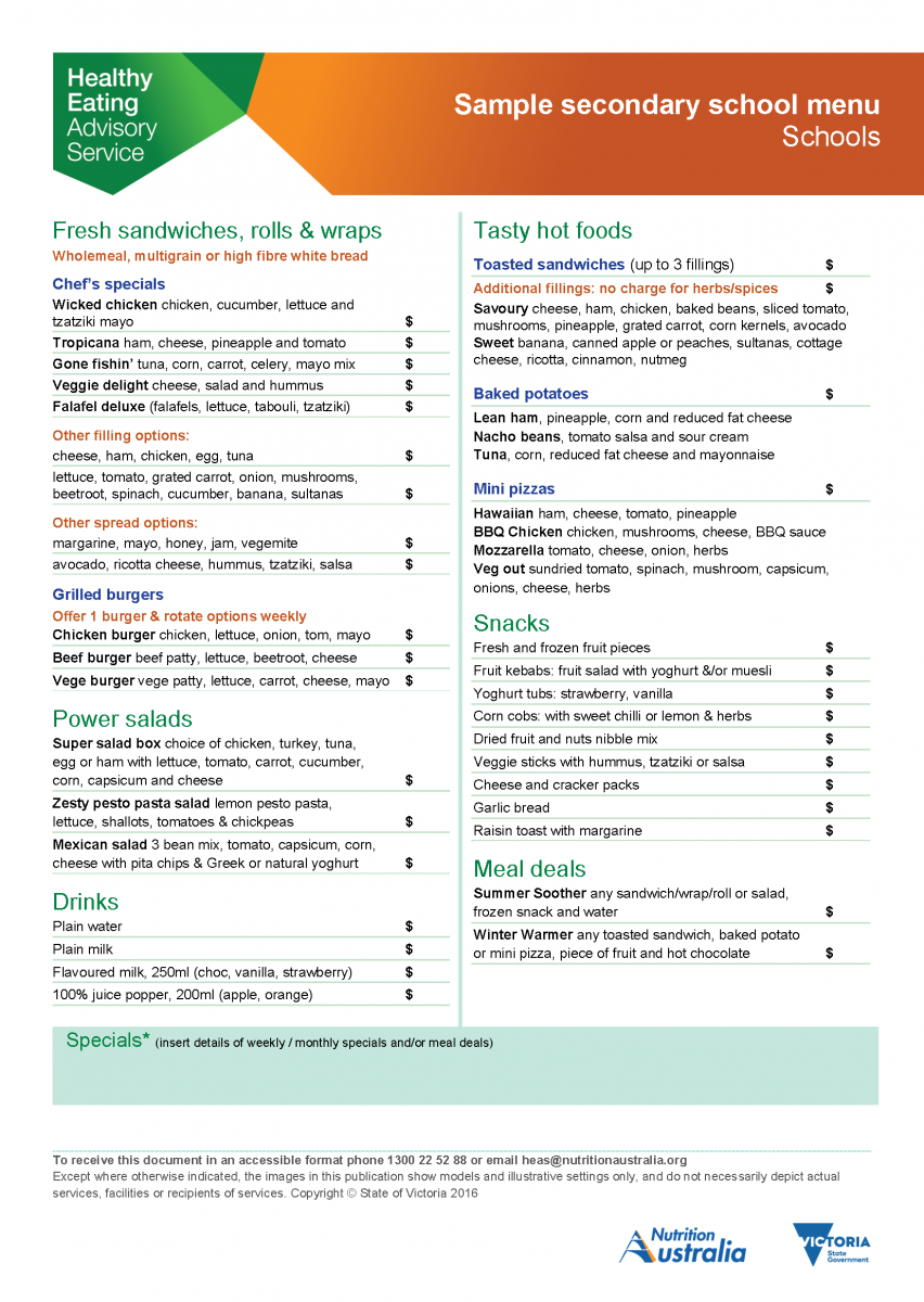 sample secondary school menu