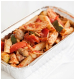 Chicken and vegetable pasta bake in take away tray