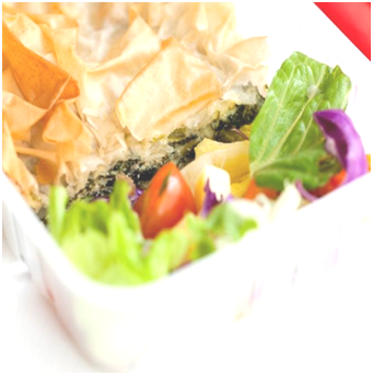 Spinach and ricotta filo with salad