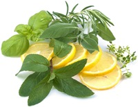 fresh herbs with sliced lemon