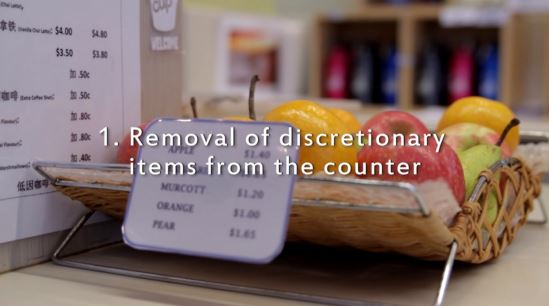 "Screen shot of video, showing a fruit bowl on a food outlet counter. Text reads, ""Removal of discretionary items from the counter."""