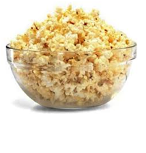 Large glass bowl of popcorn