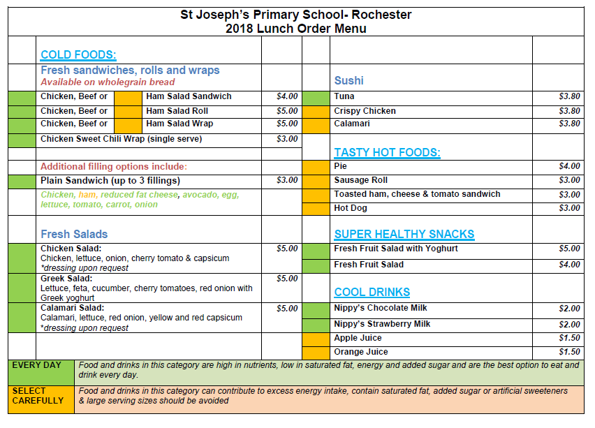 Marlborough Primary School menu