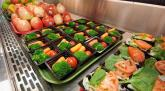 Trays of healthy food.