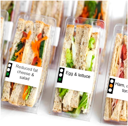 Sandwiches in takeaway containers with traffic light labels
