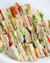 Platter of mixed sandwiches.