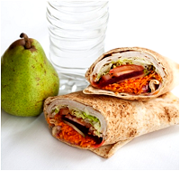 Chicken and salad wrap, apple and bottle of water